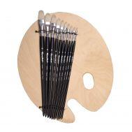 Set №41 - Oval bristle brushes + palette