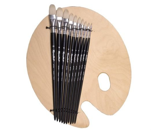 Set №41 - Oval bristle brushes + palette